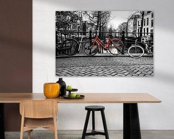 Straatfotografie in Utrecht. De Rode fiets op de Quintijnsbrug over de NIeuwegracht in Utrecht van De Utrechtse Grachten