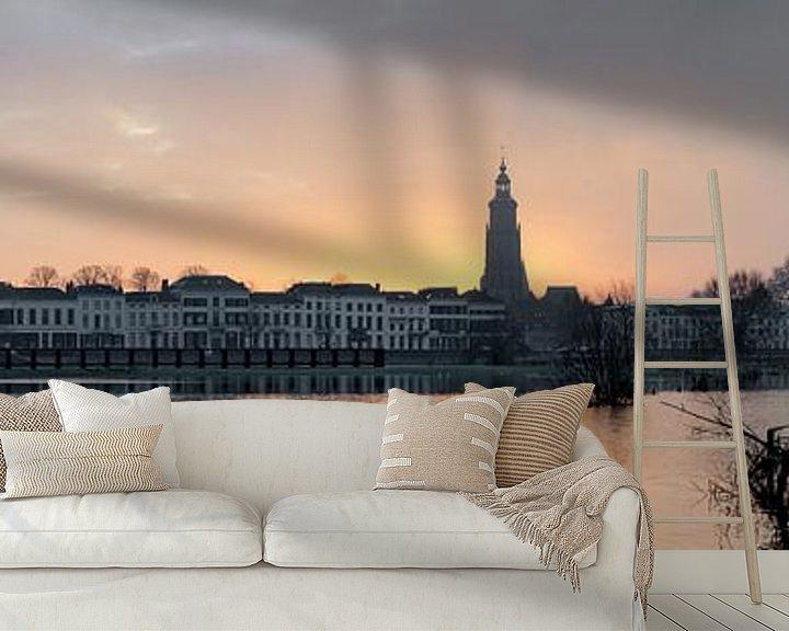 Sfeerimpressie behang: Panorama van de ochtendzon in Zutphen van Marcel Pietersen