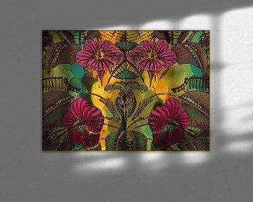 Hibiscus fleur et feuille sur Marijke Mulder