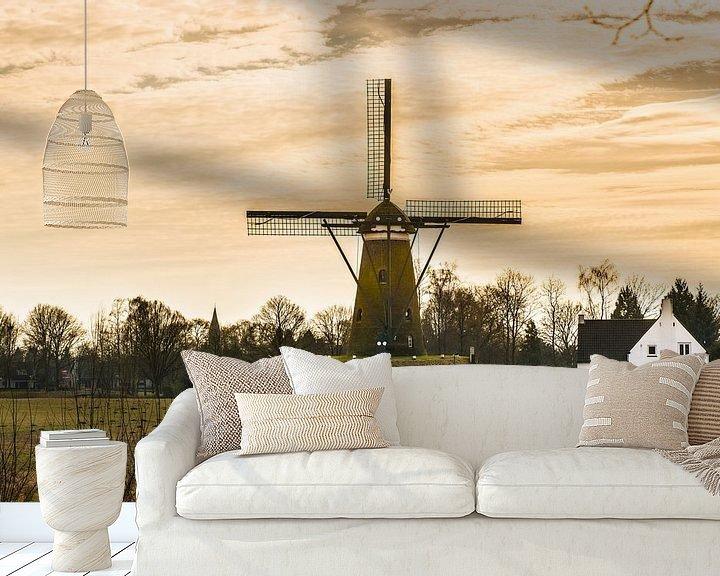 Sfeerimpressie behang: A Dutch Windmill with A yellow sky van Brian Morgan