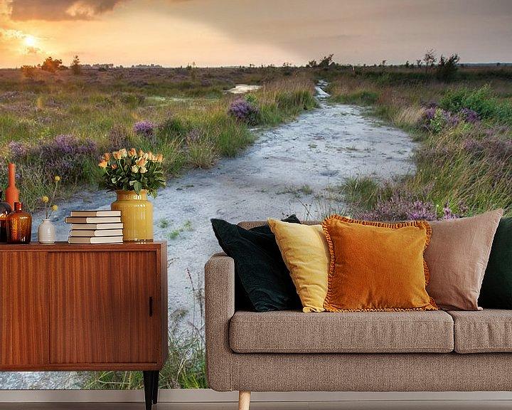 Sfeerimpressie behang: Zonsondergang op het Fochteloërveen van Ron Buist