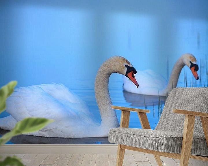 Sfeerimpressie behang: Witte zwanen in het ochtendlicht van Ron Buist