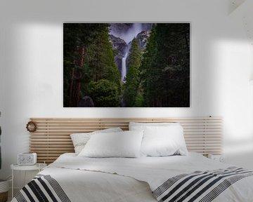 Waterval door de bomen van Bart Van Wijck