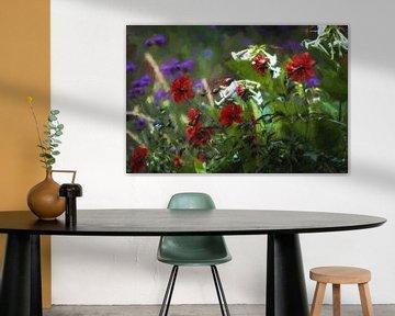 Wilde Bloemen (groen,purper en rood)