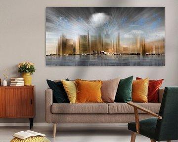 City Shapes Manhattan Skyline | Panoramic van Melanie Viola
