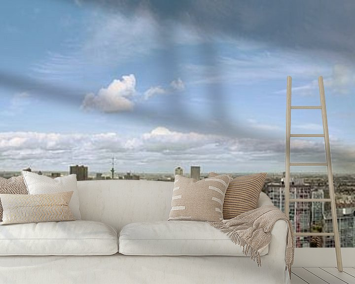 Sfeerimpressie behang: Panorama of Rotterdam van Jerome Coppo