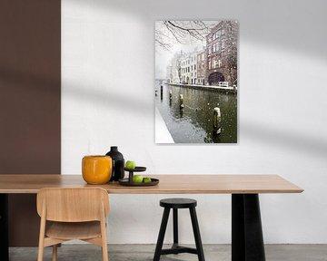 Winter in Utrecht. Besneeuwde dukdalven in de Oudegracht.