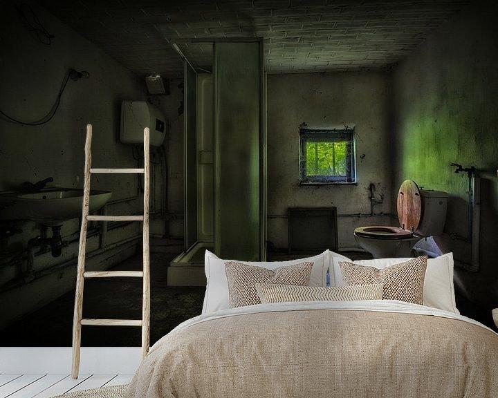 Beispiel fototapete: Urbex badkamer in een donkere groene sfeer von Steven Dijkshoorn
