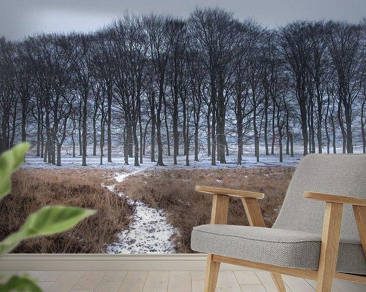 Sfeerimpressie behang: Sneeuw in de bossen op de Veluwe van Cilia Brandts