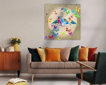 Vrolijke vogels met vlinders illustratie schilderij van Nicole Habets