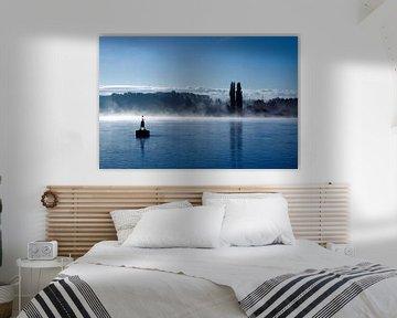 Rivier in de mist van Wim Heirbaut