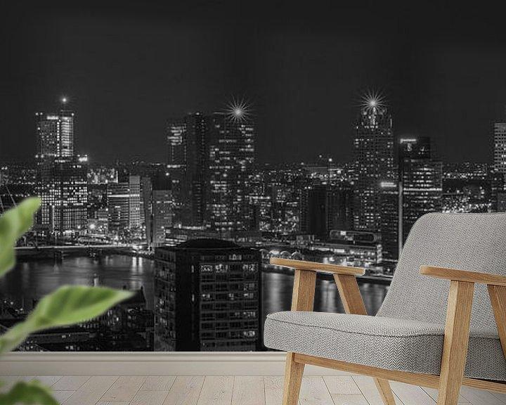 Sfeerimpressie behang: Het uitzicht op de skyline van Rotterdam van MS Fotografie | Marc van der Stelt