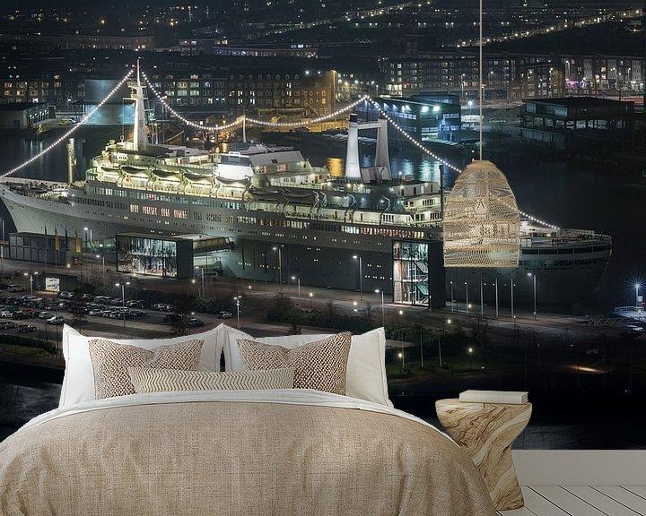 Sfeerimpressie behang: Het ss Rotterdam in Rotterdam Katendrecht van MS Fotografie   Marc van der Stelt
