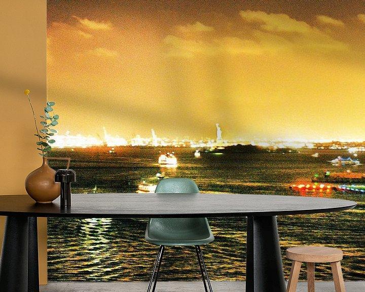 Sfeerimpressie behang: Hudson River (NyC) by Night van bob brunschot