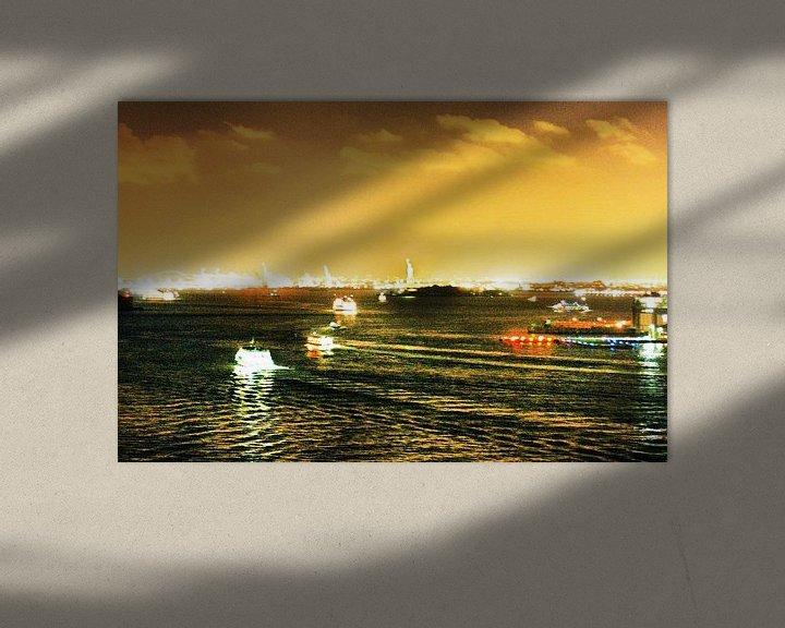 Sfeerimpressie: Hudson River (NyC) by Night van bob brunschot