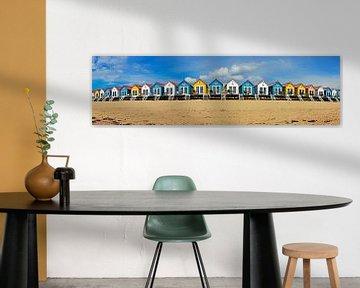 Panorama strandhuisjes Vlissingen
