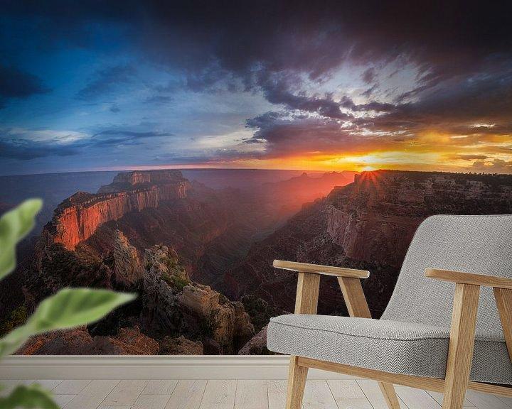 Sfeerimpressie behang: Grand Canyon Zonsondergang van Edwin Mooijaart