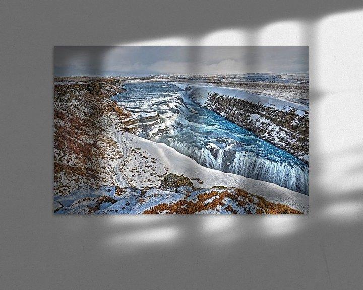 Sfeerimpressie: Gullfoss in de winter van Frans Blok