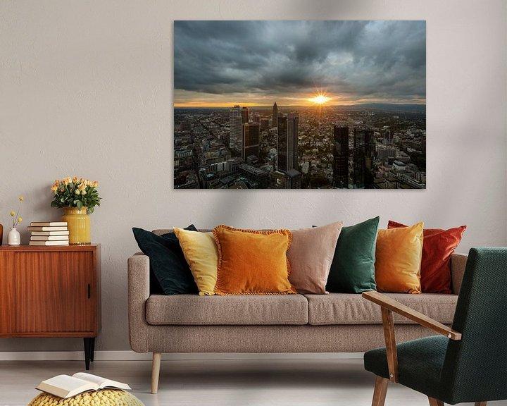 Sfeerimpressie: De skyline van Frankfurt tijdens zonsondergang van MS Fotografie | Marc van der Stelt