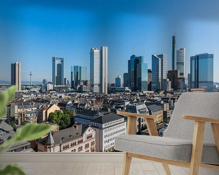 Sfeerimpressie behang: De skyline van Frankfurt in Duitsland van MS Fotografie | Marc van der Stelt
