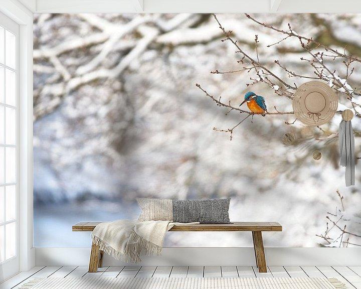 Beispiel fototapete: Eisvogel in der Winterlandschaft von Dirk-Jan Steehouwer