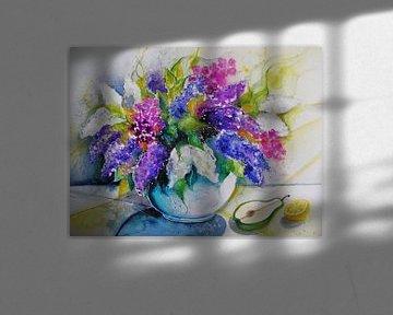 Vase mit Flieder von Dorothy Maurus