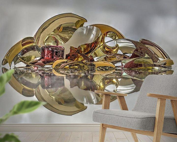 Sfeerimpressie behang: Rood, zilver en goud van Frans Blok