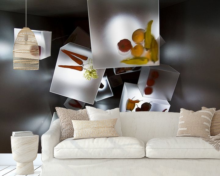 Sfeerimpressie behang: Floriade 2012 'Cubes' van Greetje van Son