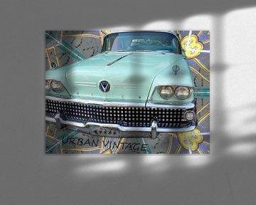 Mintgroene Retro Buick van Nicky`s Prints