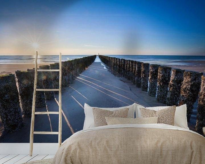 Sfeerimpressie behang: Zeeuwse zeewering van Ton Drijfhamer