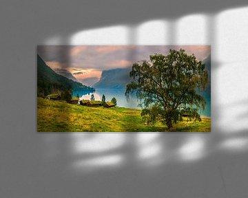 Oude boerderijen Lovatnet, Noorwegen van Henk Meijer Photography