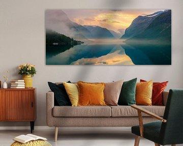 Sunrise Lovatnet, Norvège sur Henk Meijer Photography