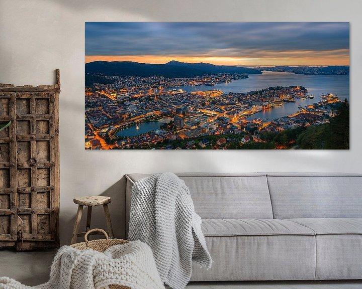 Sfeerimpressie: Zonsondergang Bergen, Noorwegen van Henk Meijer Photography