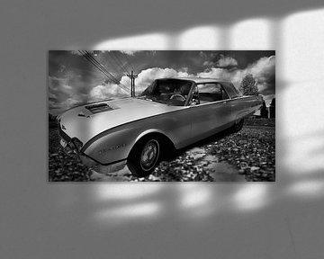 Witte Ford Thunderbird  van Nicky`s Prints