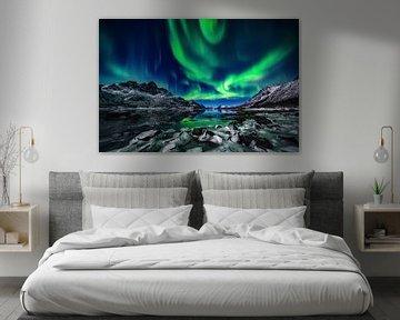 Noorderlicht boven bevroren Fjord - Vesterålen en Lofoten, Noorwegen von Martijn Smeets