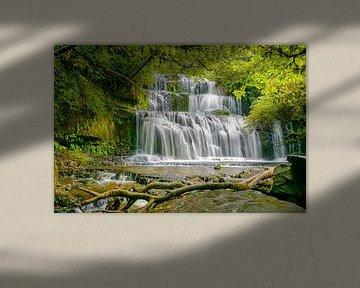 Purakaunui watervallen, Zuidereiland, Nieuw Zeeland van Rietje Bulthuis