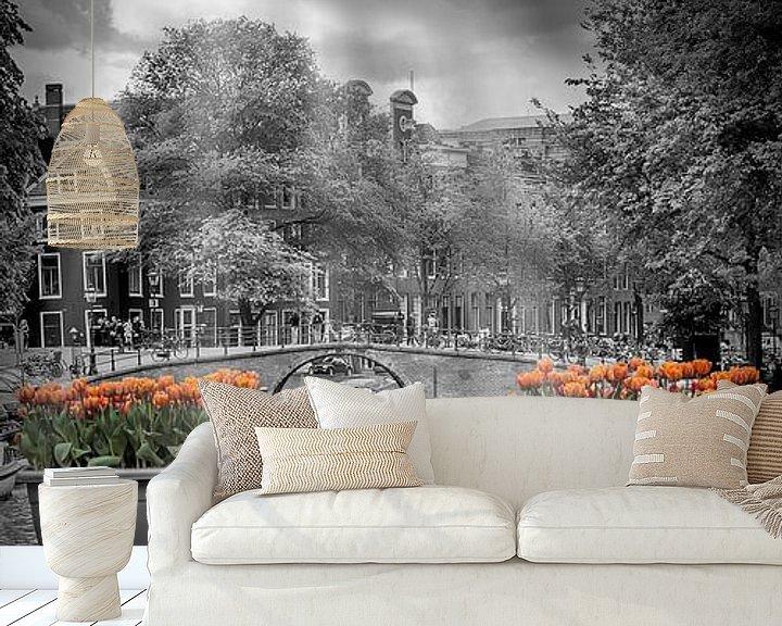 Sfeerimpressie behang: AMSTERDAM Herengracht   panorama van Melanie Viola