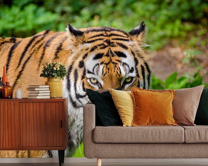 Sfeerimpressie behang: Siberische tijger van Atelier Liesjes