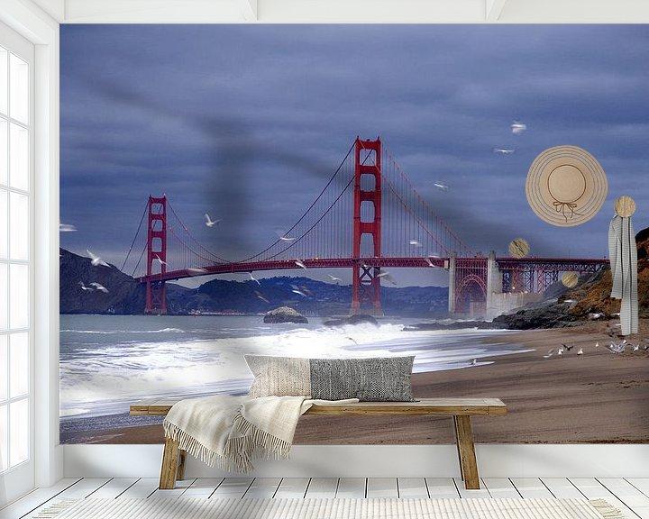 Sfeerimpressie behang: Golden Gate Bridge  van Marianne Bal