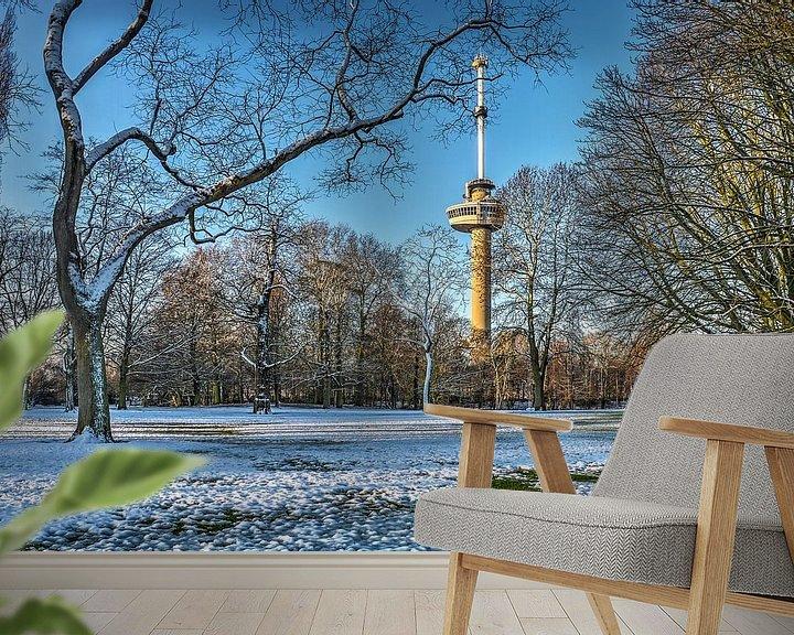 Sfeerimpressie behang: Winter in het Park bij de Euromast van Frans Blok