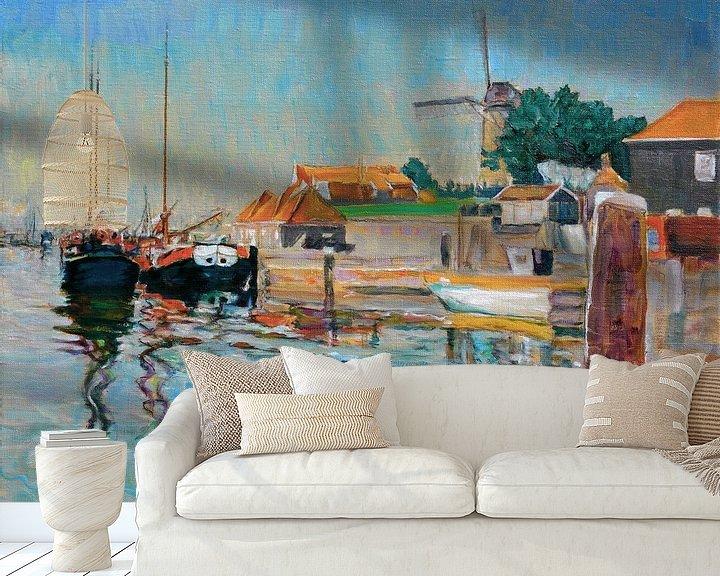 Sfeerimpressie behang: Haven in Zierikzee in Zeeland van Atelier Liesjes