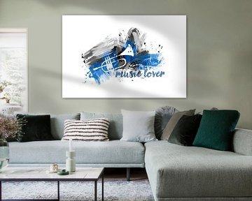 Graphic Art MUSIC LOVER | blue van Melanie Viola