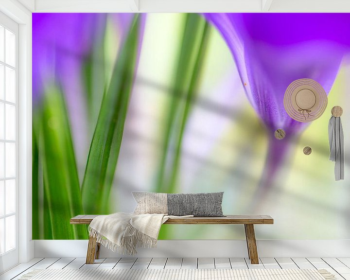 Sfeerimpressie behang: Kleurrijk detail van een krokus van Mark Scheper