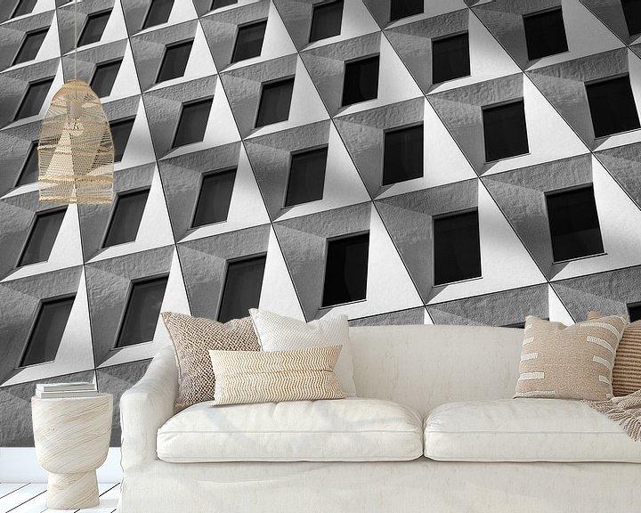 Sfeerimpressie behang: Compositie in grijstonen 1 van Raoul Suermondt