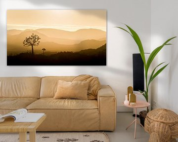 Panorama du coucher de soleil africain sur Vincent de Jong