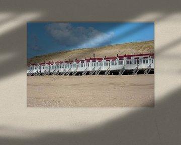 Strandhuisjes op strand Egmond aan  Zee