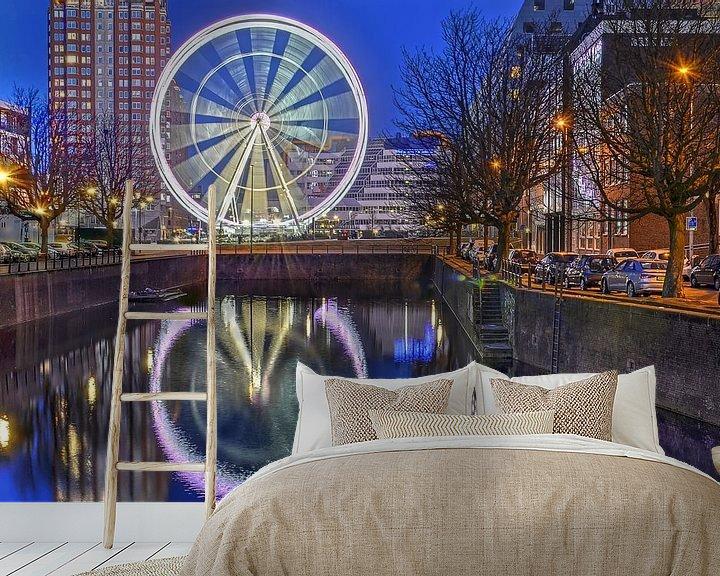 Sfeerimpressie behang: Reuzenrad The View Rotterdam van Frans Blok