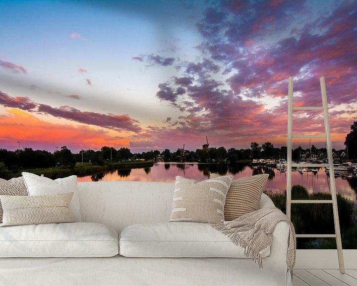 Sfeerimpressie behang: Weesper molens bij zonsondergang van Robin Voorhamm