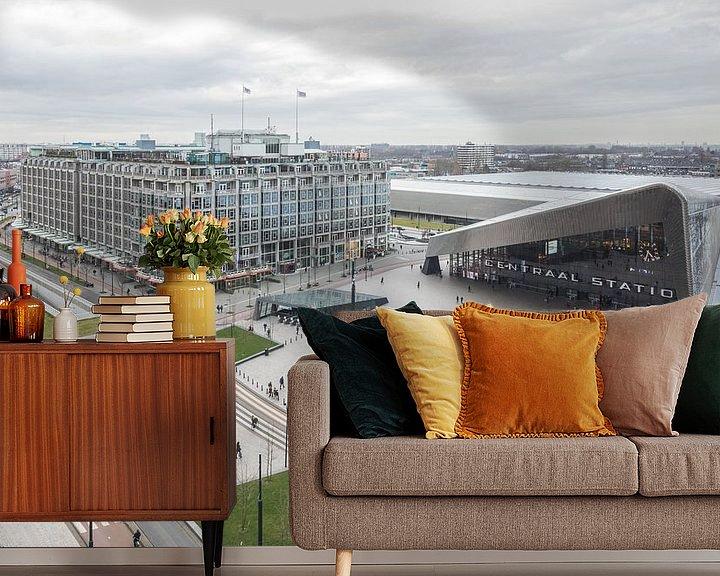 Sfeerimpressie behang: Het uitzicht op het Centraal Station in Rotterdam van MS Fotografie | Marc van der Stelt