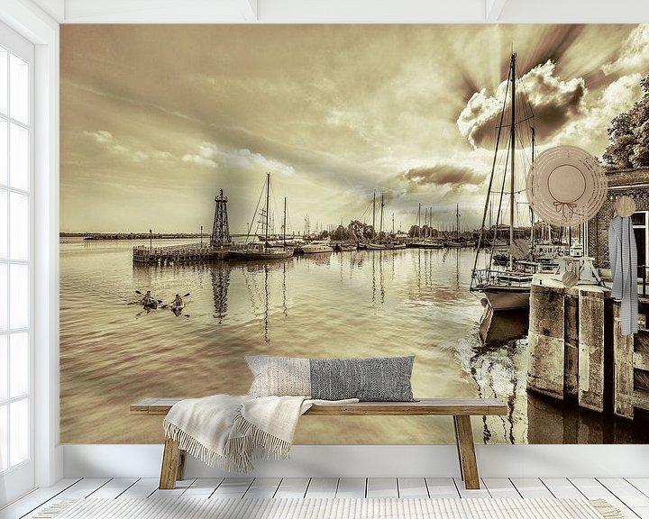 Impression: Entree van de haven van Enkhuizen in duotone sur Harrie Muis